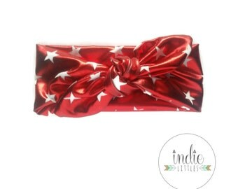 Red Shiny Starred Headwrap / Red Knotted headband headwraps / Baby Newborn Kids Girls Women Adult headbands / Patriotic headband / americana