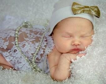 Newborn Hospital Hat. White with Gold  Shimmer Bow. Baby Beanie. 1st Keepsake! Newborn Beanies. Great Going Home Hat!