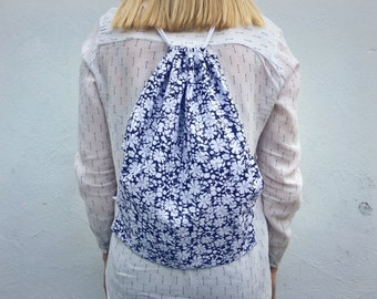 Handmade navy blue floral drawstring backpack