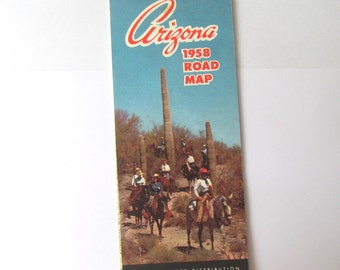 1958 map of Arizona, USA: folded map and travel information guide. Collectible paper ephemera or use in craft, scrapbook, travel journal