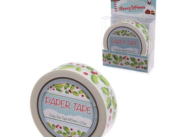 Holly washi tape: 10 metre roll of white, green and red Christmas paper tape. Supply for craft, scrapbook, gift wrapping.