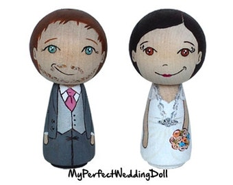 Wooden Cake Toppers/Wedding Cake Toppers/Anniversary gift/Personalised/Peg dolls / Bride and Groom  - 6.5 cm tall