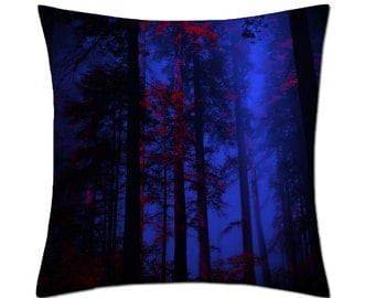 Gothic Blue Forest Cushion Cover (C136)