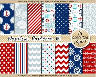 SALE Nautical digital paper sea digital paper nautical pattern navy blue red chevron polka dot stripes anchor nautical clipart scrapbook