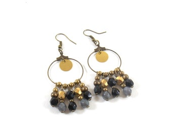 Earrings black and grey EJ in brass and glass Czech beads