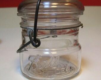 Vintage Ball Ideal Half 1/2 Pint Midget Fruit Canning Jar Glass Lid Tea Canister Storage Wire Bail Lightning Closure Base Depression Antique