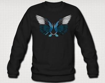 Magpie Crow Bird Wings Sweatshirt Sweater For Men. Sizes M-XXL. Black, Heather Grey Or Royal Blue.