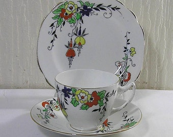 Art Deco 1930  Royal Albion Hand Enameled Floral  Pattern Trio Cup Saucer And Sideplate
