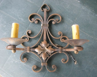 French Wall Sconce, French Wall Applique, Wrought Iron Sconce, Wrought Iron Applique, Wall Candle Holder