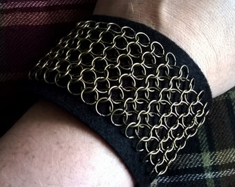 Antique bronze chainmaille and felt cuff bracelet.
