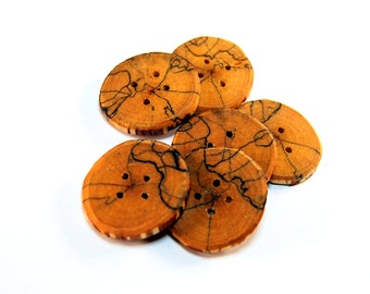 Set of 6 wooden buttons, Spalted birch wood, handmade buttons,Buttons of spalted wood,1,5 inch buttons,Branch buttons,Craft accessories  #1