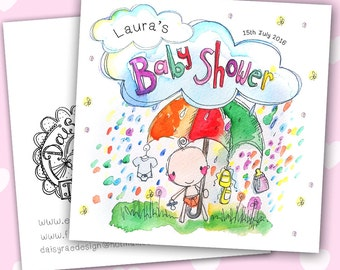 Baby Shower Watercolour print greetings card with lots of sparkle!
