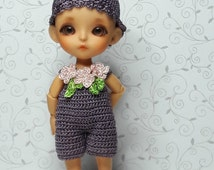 Lati white (9cm) crocheted violet set, jumpsuit and hat .  Outfit  to tiny BJD doll.