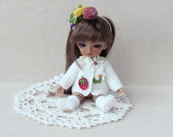 4-5 inch doll knitted white jacket with applique BJD Doll clothes Hujoo baby dress BJD doll dress Tiny bjd outfit Clothes tiny collect bjd