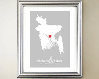 Bangladesh Custom Vertical Heart Map Art - Personalized names, wedding gift, engagement, anniversary date