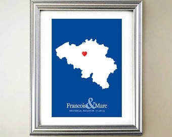 Belgium Custom Vertical Heart Map Art - Personalized names, wedding gift, engagement, anniversary date