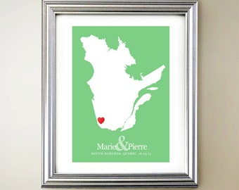Quebec Custom Vertical Heart Map Art - Personalized names, wedding gift, engagement, anniversary date