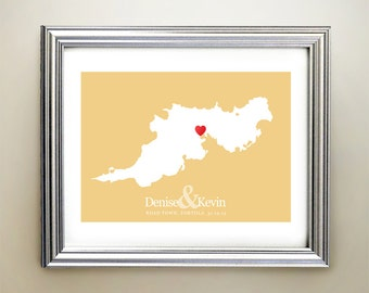 Tortola Custom Horizontal Heart Map Art - Personalized names, wedding gift, engagement, anniversary date