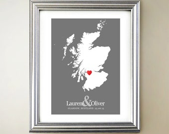 Scotland Custom Vertical Heart Map Art - Personalized names, wedding gift, engagement, anniversary date