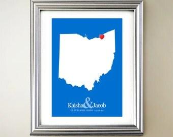 Ohio Custom Vertical Heart Map Art - Personalized names, wedding gift, engagement, anniversary date