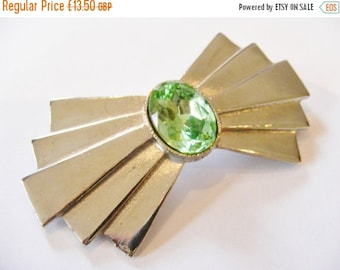 50% OFF 1970's Vintage Art Deco Style Peridot Bow Brooch, Silver Plated