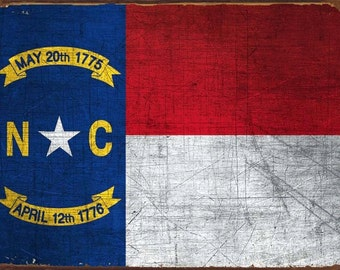 North Carolina State Flag Metal Sign, First in Flight State, Americana, Rustic Décor HB7108