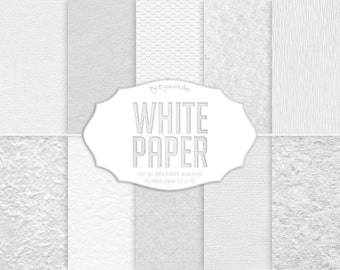 "White Digital paper: ""White Paper"" with digital paper textures and white paper backgrounds in bright white tones, without color"