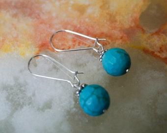 Blue Turquoise Howlite Earrings, Gemstone Earrings, Silver Plated Earrings, Blue Earrings,Earrings Hooks,Silver Earrings,Kidney Earrings