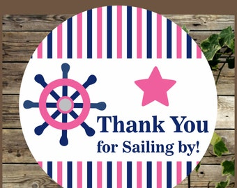 Nautical Favor Tag, Instant Download, Printable Thank You Tag,  Navy Blue and Pink, Baby Shower Favor Tag, Baby Shower Girl Favor Tags