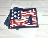 Handmade 4th of July Card - United States Flag Card - Independence Day Card - Fireworks Greeting Card - Fourth of July Card -Stampin Up Card