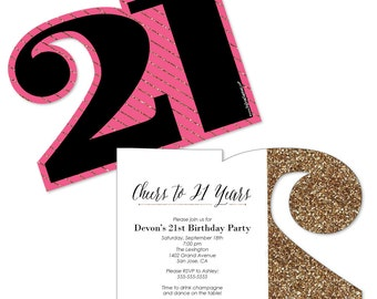 Finally 21 Girl - 21st Birthday – Personalized Birthday Party Age-Shaped Invites - Set of 12