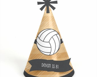 8 Bump, Set, Spike - Volleyball Birthday Party Hats - Personalized Volleyball Party Supplies - Set of 8