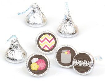 Hershey Kiss® Stickers - Rustic Floral - Round Candy Label Party Favors - Baby, Birthday or Bridal - Hershey Kisses Labels - 108 per Sheet