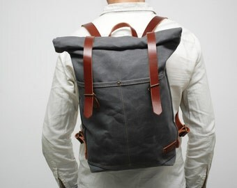 waxed Canvas rucksack/backpack,  charcoal color, hand waxed , with handles, leather  double closures