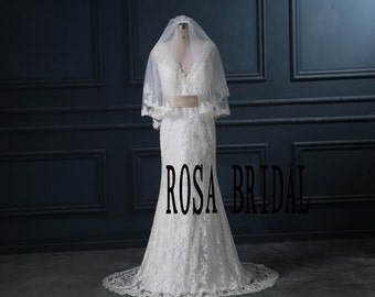 Wedding blusher Veil Two layers,Wedding Lace veil blusher Length 2 Tiers, 2 Tiers Bridal Lace Veil lace edge Veil with Comb