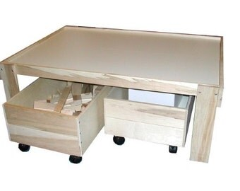 Train Table, Activity Table, Play Table with Optional Storage Trundles, Unassembled Kit with No Finish Applied