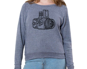 "Camera Series ""Hasselblad"" Graphic printed on Women's American Apparel long sleeve pullover"