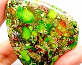 Green Imperial Jasper Pendant Bead, Green Emperor Jasper, Green Sea Sediment Jasper and Pyrite, Green Bead, Green Gemstone Pendant