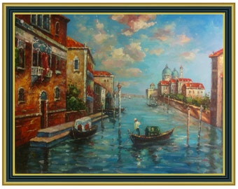 Original Hand Painted 36x48 Stretched Canvas Grand Canal View of Venice with Gondolas Oil Painting stretched only or 4 frame choices