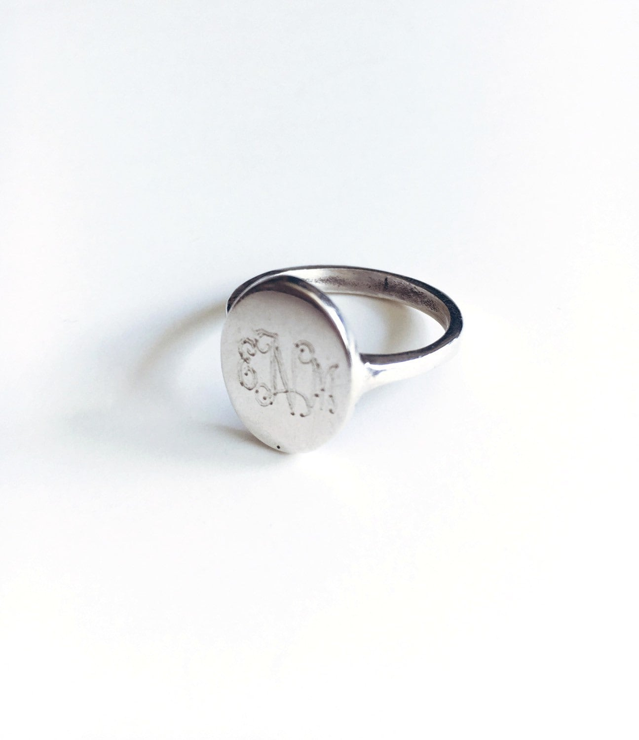 vintage sterling silver signet monogrammed ring by