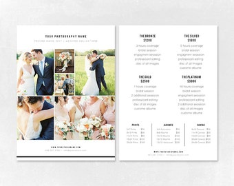 Photography Pricing Template - Price Guide List for Photographers - Wedding Photographer Photo Price Sheet - Price Guide - PG007