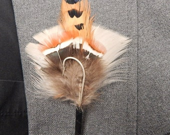 Hooked on You Natural Pheasant Feather Boutonniere
