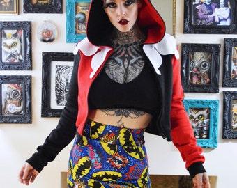 Harley Quinn Cropped Cosplay Hoodie Jacket
