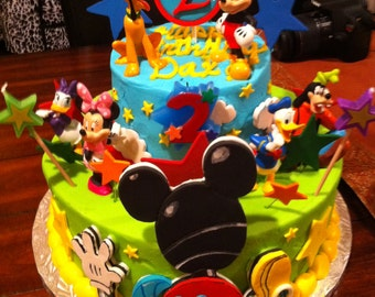 Edible fondant detailed 2D Mickey Mouse Clubhouse cake topper set