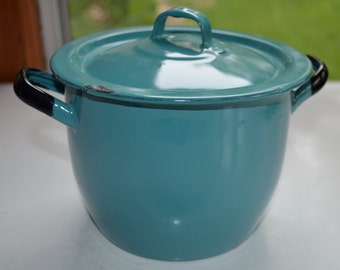 Robin's Egg Blue & White Enamelware - Cute Vintage Small Pot with Lid - Black Rim and Handles - Made in Poland - Great for Camping