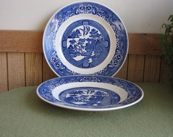 Royal China Blue Willow Ware Dinner Plates Set of Two (2) Royal Ironstone Vintage Retro Dinnerware Sets Blue and White Kitchens Chinoiserie