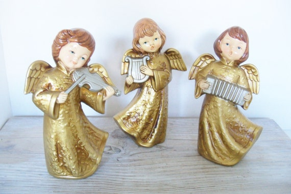 3 Vintage Homco Christmas Angels Carolers 1960s Hand Painted Gold Gowns with Instruments