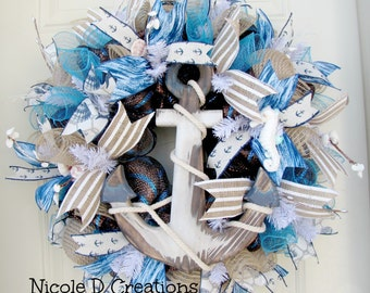Summer Wreath- Deco Mesh- Beach Wreath- Nautical Wreath- Front Door Wreaths