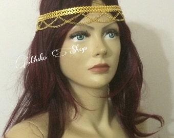 gold hair piece, hair chain, head dress, gold body chain, body jewelry, fashion jewelry, bride head piece