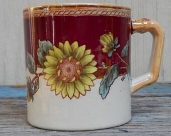 1800's Polychrome Transferware Sunflower Mug!